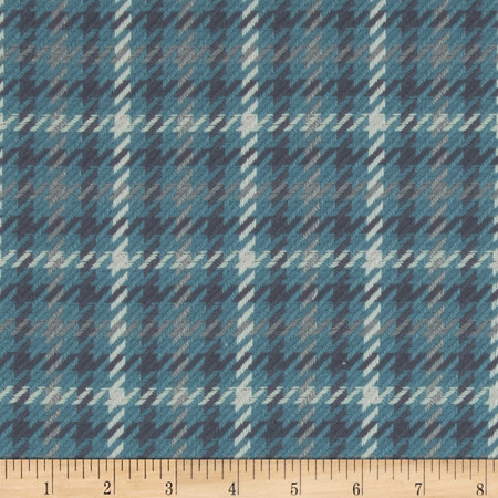 P Kaufmann Baker's Street Houndstooth Upholstery Ocean Fabric