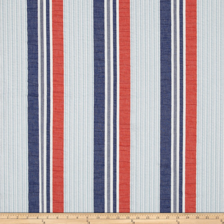 P Kaufmann Brielle Seersucker Stripe Nautical Fabric By The Yard