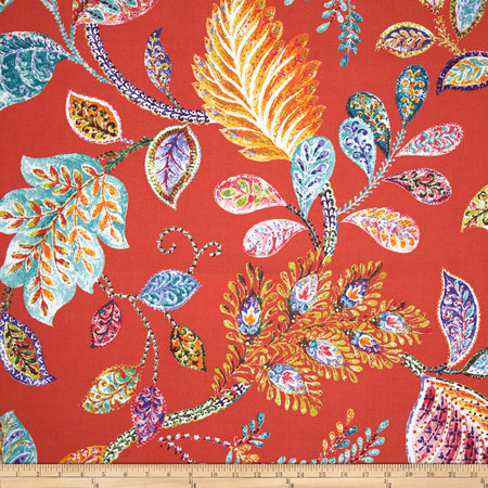 P Kaufmann Indoor/Outdoor Autumn Leaves Coral Fabric By The Yard