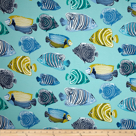 P Kaufmann Indoor/Outdoor Fish Tale Caribbean Blue Fabric