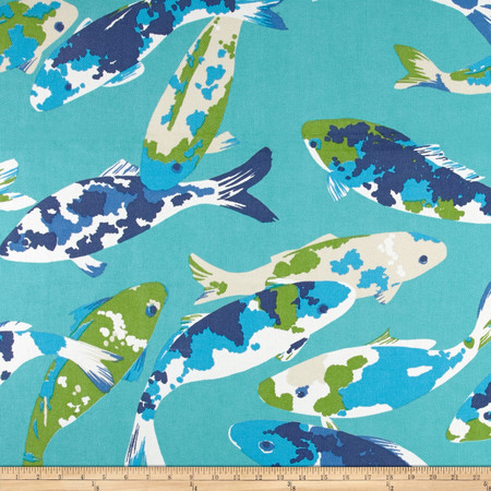 P Kaufmann Indoor/Outdoor Koi Turquoise Fabric By The Yard