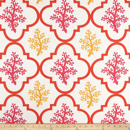 P Kaufmann Indoor/Outdoor Nantucket Coral Sunshine Fabric By The Yard