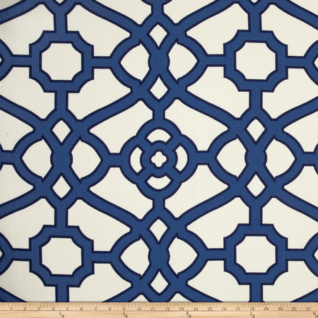 P Kaufmann Indoor/Outdoor Pavilion Fretwork Navy Fabric By The Yard