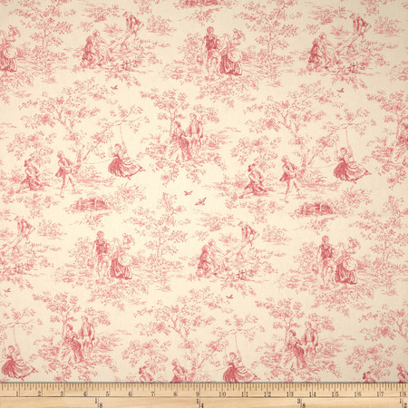P Kaufmann Kensington Garden Toile Rose Fabric