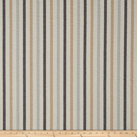 P Kaufmann Lavallette Seersucker Stripe Peppercorn Fabric