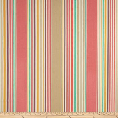 P Kaufmann Nautical Stripe Twill Red Snapper Fabric