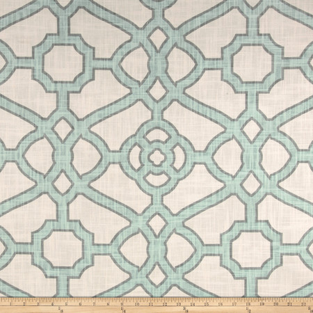 P Kaufmann Pavilion Fretwork Tropical Blue Fabric By The Yard