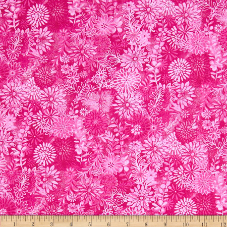 Packed Floral Tonal Fuchsia Fabric