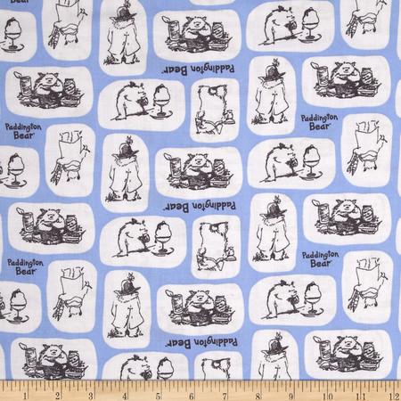 Paddington Bear Tiles in Marina  Fabric