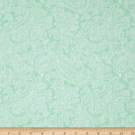 Palm Court Large Paisley Aqua Fabric