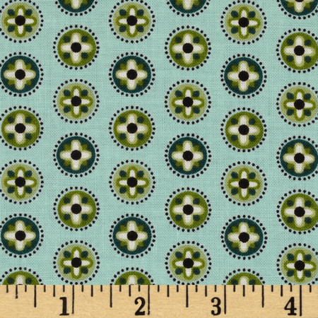 Palm Court Mini Medallion Aqua Fabric
