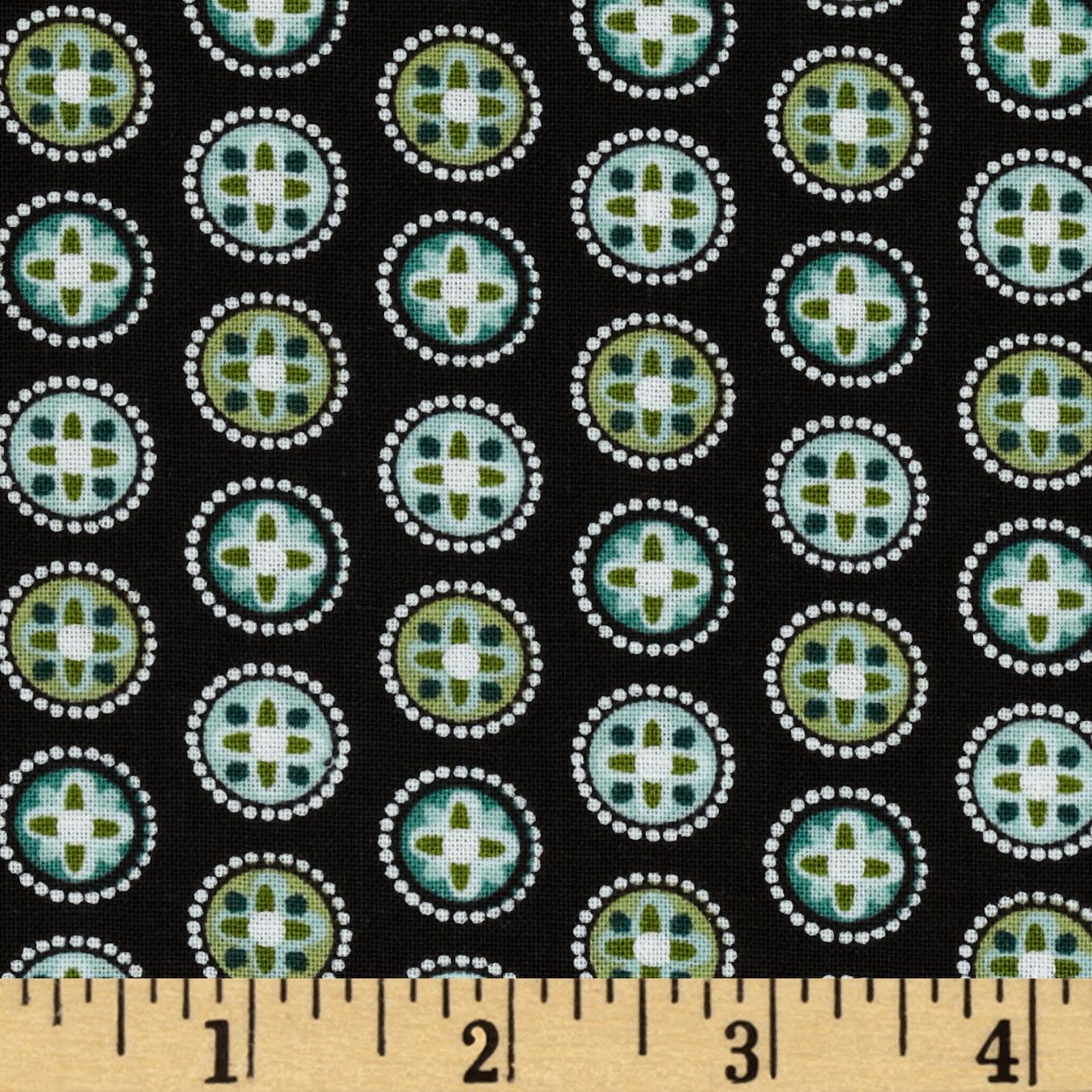 Palm Court Mini Medallion Brown Fabric