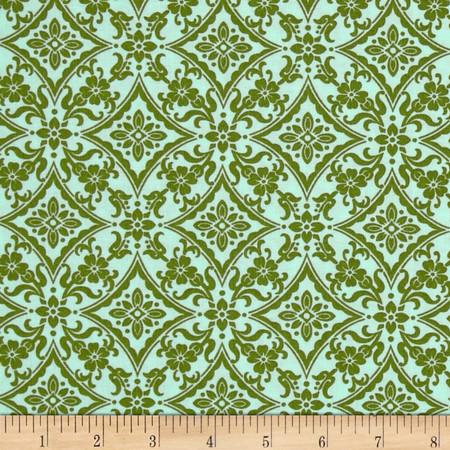 Palm Court Scroll Aqua Fabric
