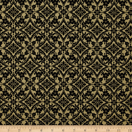 Palm Court Scroll Dark Taupe Fabric By The Yard