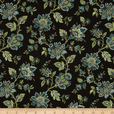 Palm Court Small Jacobean Floral Brown Fabric