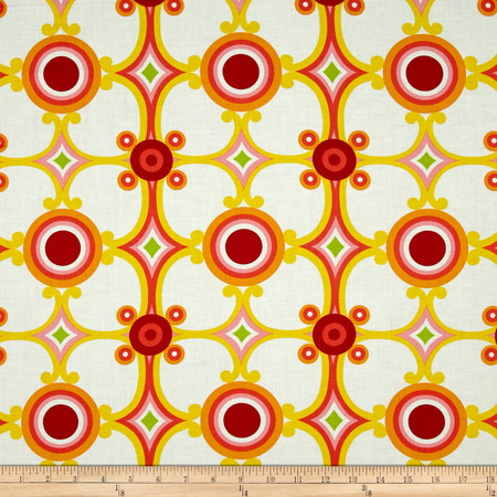 Palm Springs Medallion Orange Fabric By The Yard