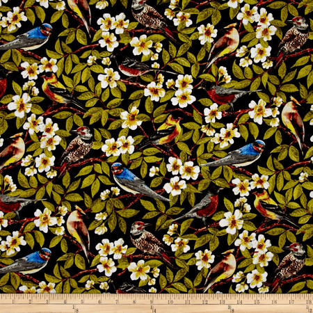 Paloma Birds In Trees Black Fabric By The Yard