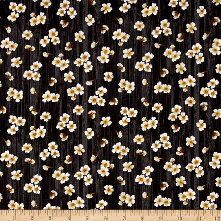 Paloma Flowers Black Fabric By The Yard