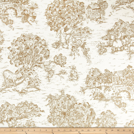 Pastoral Toile Ivory Brown Fabric