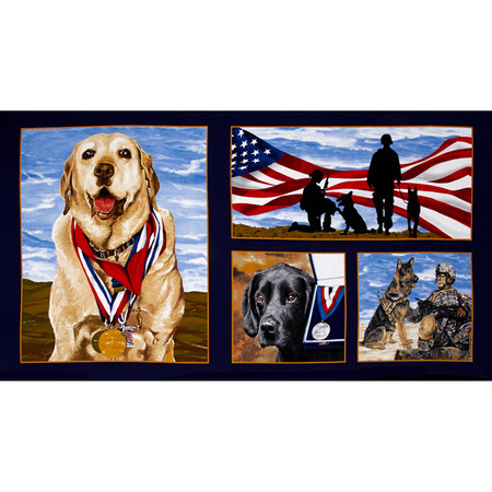 Paws For Valor Military Dogs 23'' Panel Multi Fabric