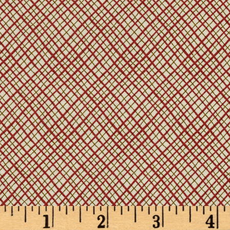 Peace On Earth Bias Plaid Tan & Red Fabric By The Yard