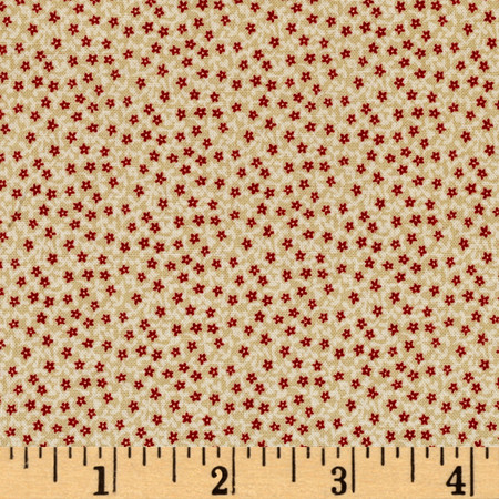 Peace On Earth Daisy Tan & Red Fabric By The Yard