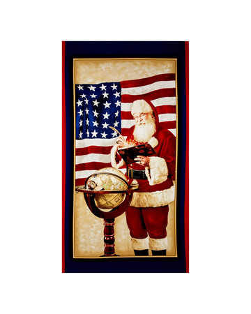 Peace On Earth Patriotic Santa 24 In. Panel Red Fabric By The Yard