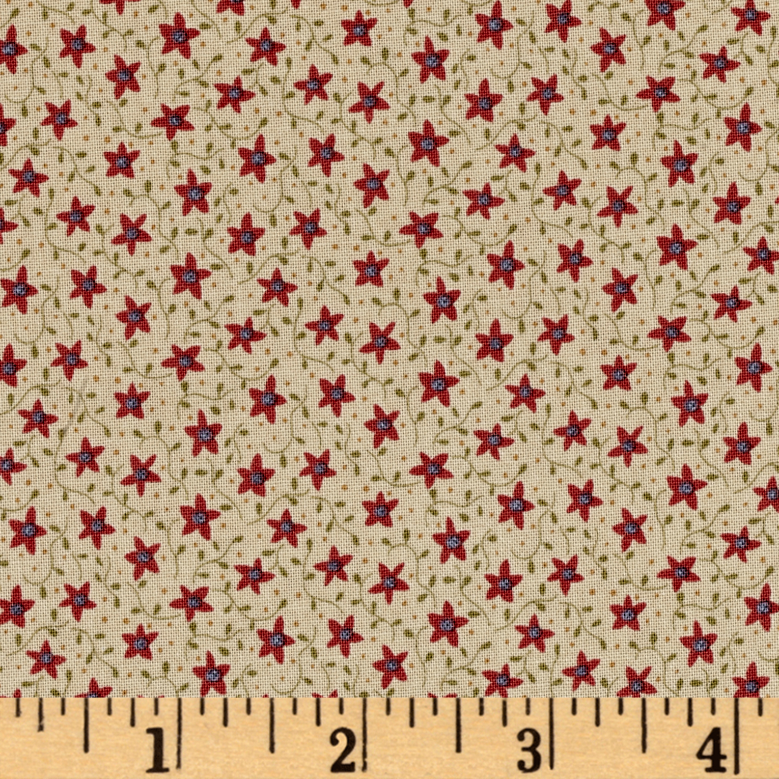 Peace On Earth Star Flower Tan Fabric By The Yard