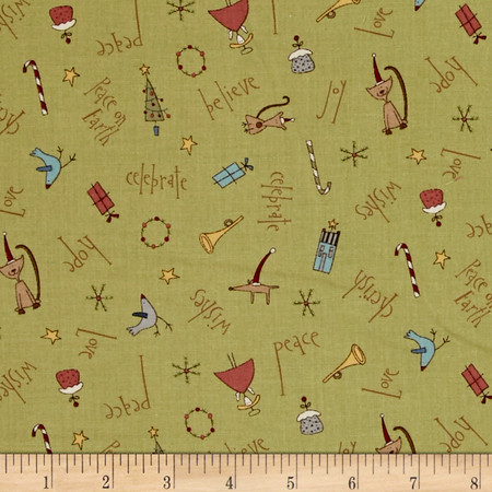 Peace On Earth Word Toss Green  Fabric By The Yard