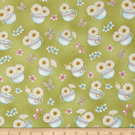 Peaceful Pastimes Daisies In A Teacup Green Fabric