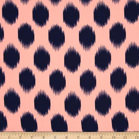 Peachskin Ikat DotPeach/Navy Fabric