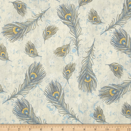 Peacock Ornamental Metallic Peacock Feathers Pearl/Gold Fabric By The Yard