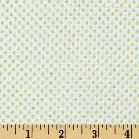 Pearle Gold Small Dot White/Gold Pearl Fabric
