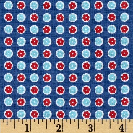 Penny Rose 30's Minis Dots Blue Fabric