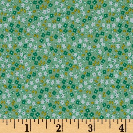 Penny Rose Apple Farm Daisy Green Fabric By The Yard