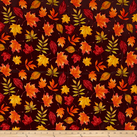 Penny Rose Autumn Hue Leaves Maroon Fabric By The Yard