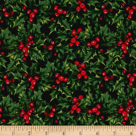 Penny Rose Joyous Christmas Holly Black Fabric By The Yard