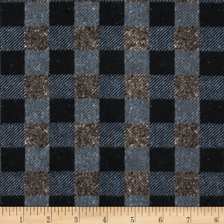 Penny Rose Menswear Flannel  Check Gray Fabric