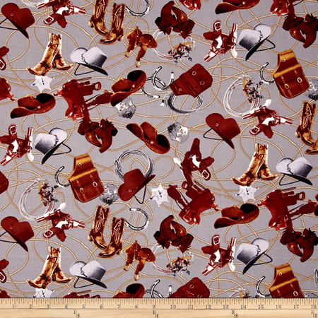 Penny Rose Sundown Tack Gray Fabric