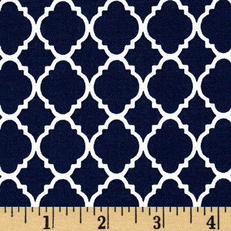 Petit Quatrefoil Navy/White Fabric By The Yard