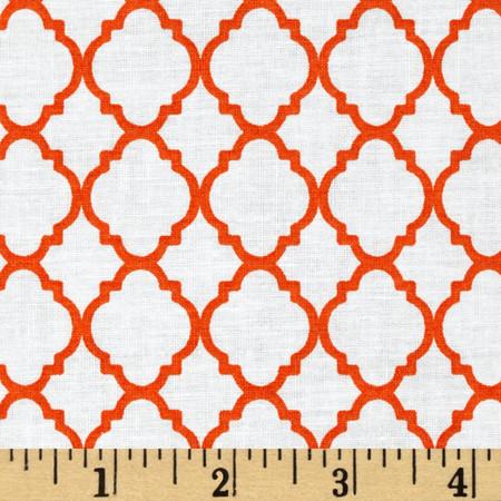 Petit Quatrefoil White/Orange Fabric By The Yard