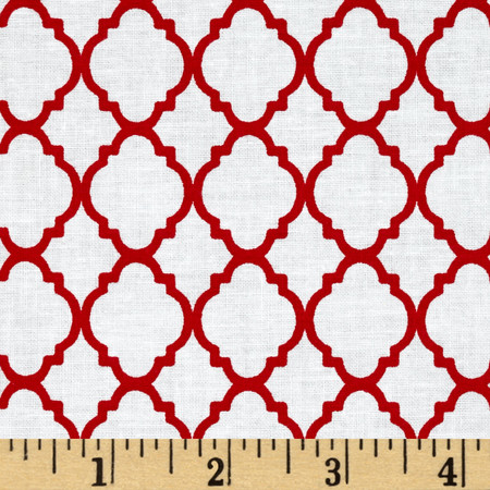 Petit Quatrefoil White/Red Fabric By The Yard