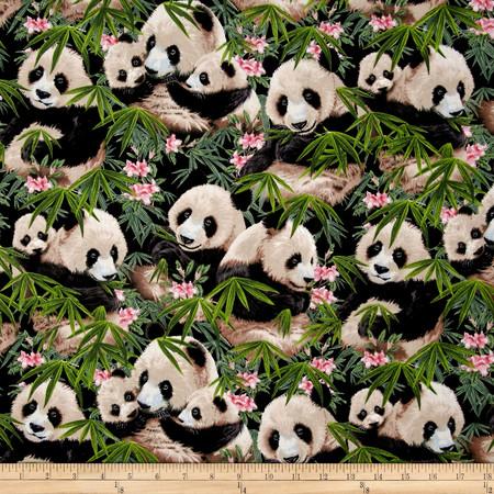 Petpourri Pandas Black Fabric