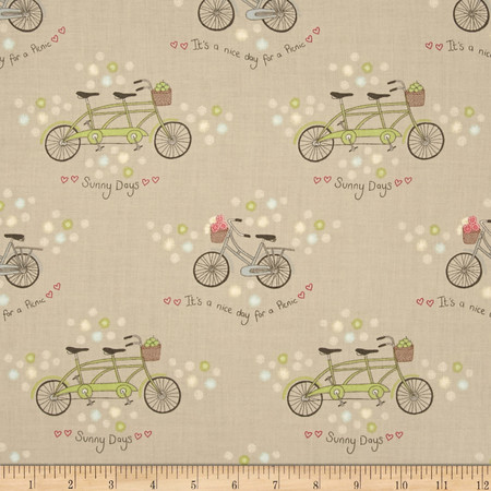 Picnic In The Park Bicycles & Flowers Taupe Fabric By The Yard