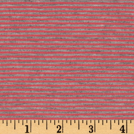 Pin Stripe Jersey Knit Heather Gray/Coral Fabric By The Yard