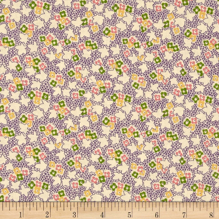 Pinafores & Petticoats Multi Floral Ivory/Purple Fabric By The Yard