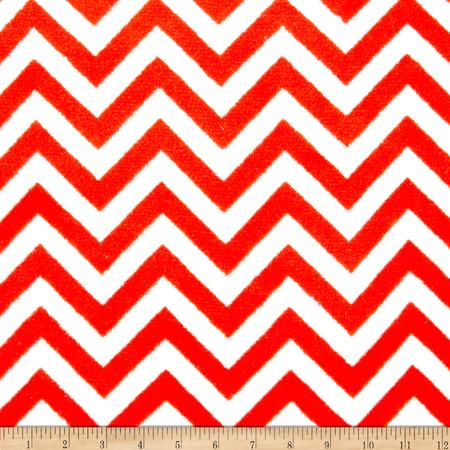 Plush Coral Fleece Chevron Ruby/White Fabric By The Yard