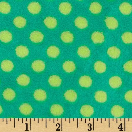 Plush Coral Fleece Polka Dot Emerald/Jade Fabric By The Yard