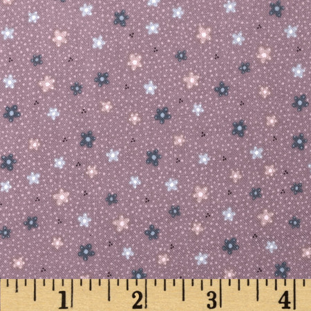Pocketful of Daisies Ditsy Flower Purple Fabric