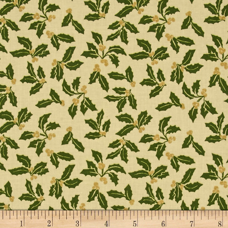 Poinsettia Glitz Metallic Mistletoes Cream Fabric